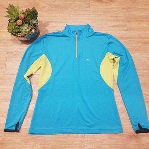 Crane Workout Top Blue Green Fitted Shirt Run Gym